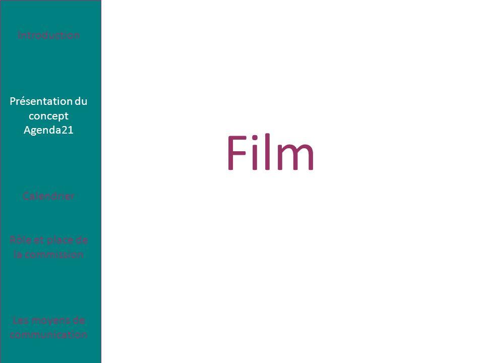 Le concept de développement durable Introduction Présentation du concept Agenda21 Calendrier Rôle et place de la commission Les moyens de communication