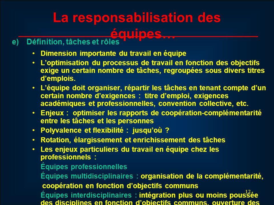 12 La responsabilisation des équipes… e) Définition, tâches et rôles Dimension importante du travail en équipe Loptimisation du processus de travail e