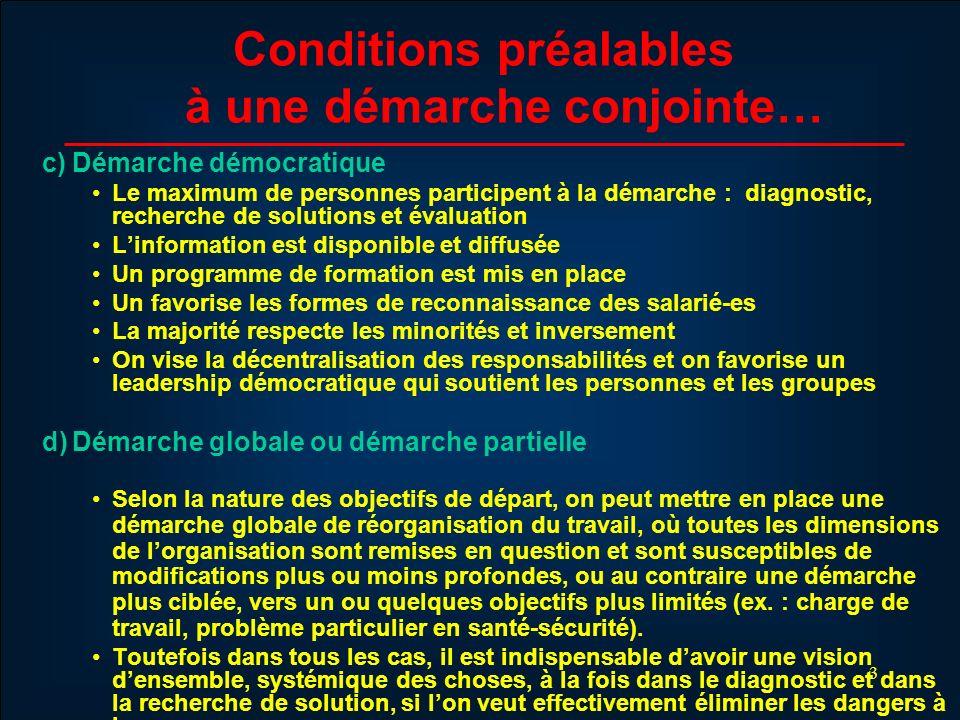 4 Conditions préalables à une démarche conjointe… e) Déclaration dengagement des parties Grands objectifs Valeurs Démarche et mécanisme conjoint Premier échéancier