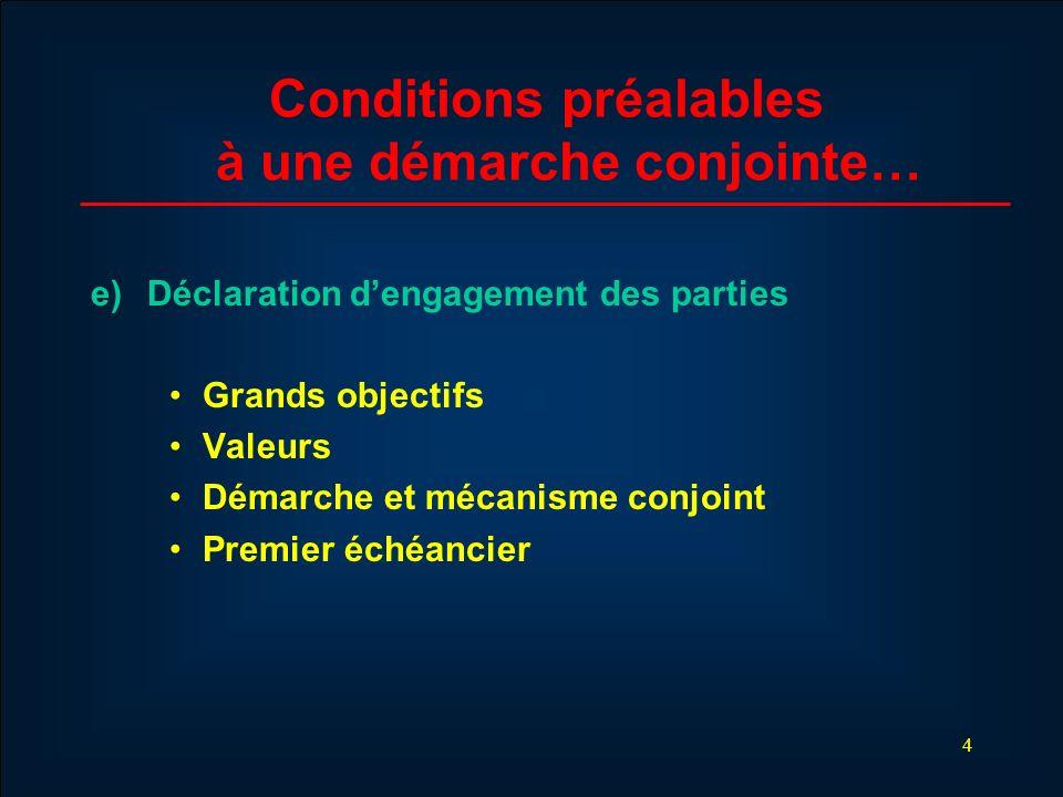 4 Conditions préalables à une démarche conjointe… e) Déclaration dengagement des parties Grands objectifs Valeurs Démarche et mécanisme conjoint Premi