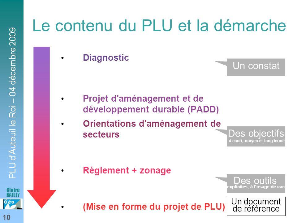 PLU d'Auteuil le Roi – 04 décembre 2009 10 Claire BAILLY Le contenu du PLU et la démarche Diagnostic Projet d'aménagement et de développement durable