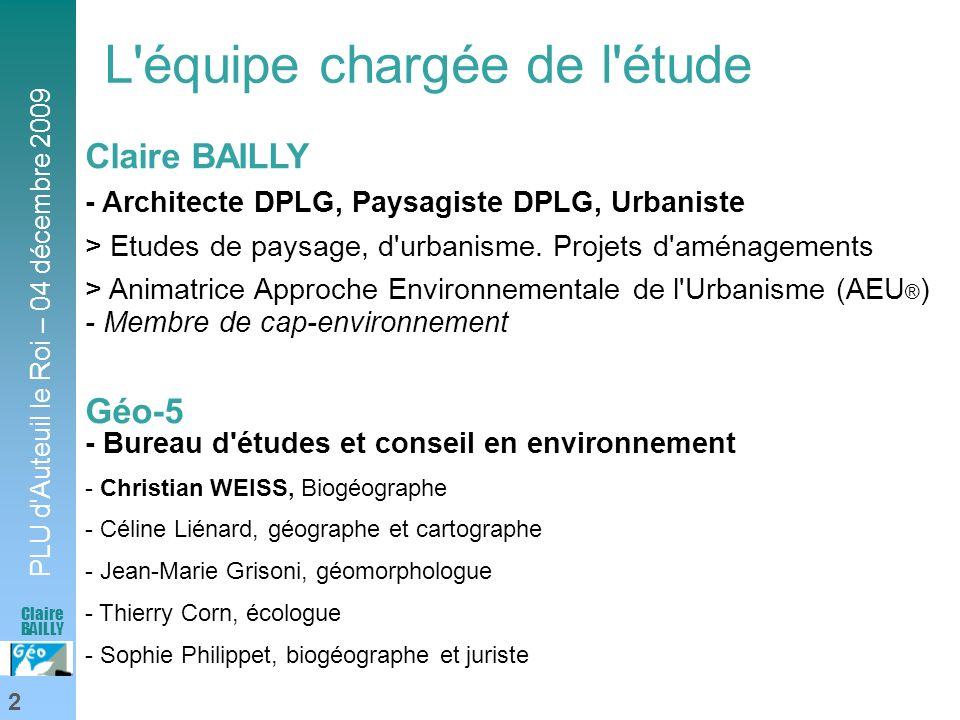 PLU d'Auteuil le Roi – 04 décembre 2009 2 Claire BAILLY L'équipe chargée de l'étude Claire BAILLY - Architecte DPLG, Paysagiste DPLG, Urbaniste > Etud