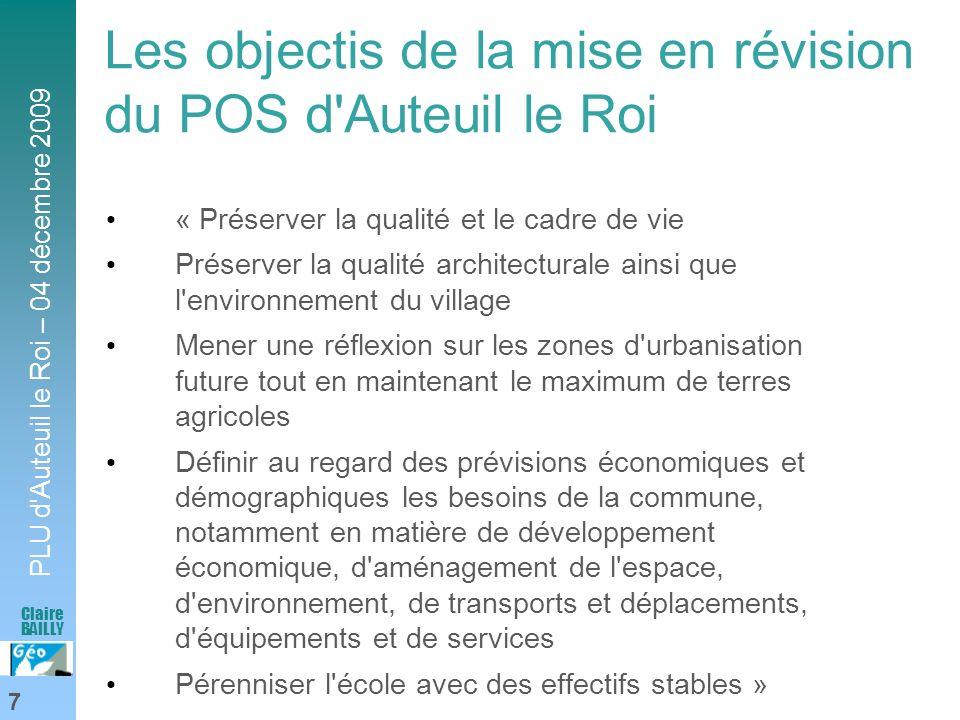 PLU d'Auteuil le Roi – 04 décembre 2009 7 Claire BAILLY Les objectis de la mise en révision du POS d'Auteuil le Roi « Préserver la qualité et le cadre