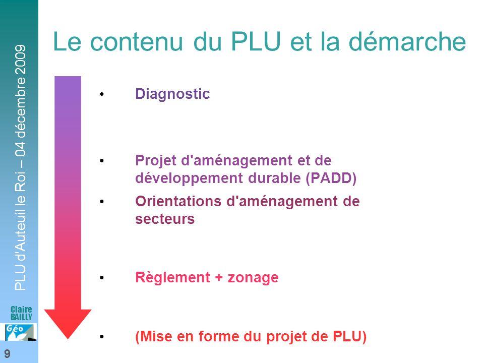PLU d'Auteuil le Roi – 04 décembre 2009 9 Claire BAILLY Le contenu du PLU et la démarche Diagnostic Projet d'aménagement et de développement durable (