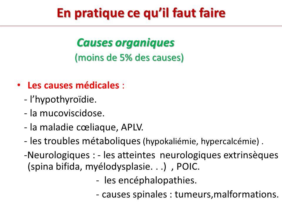 En pratique ce quil faut faire Causes organiques (moins de 5% des causes) (moins de 5% des causes) Les causes médicales : - lhypothyroïdie.