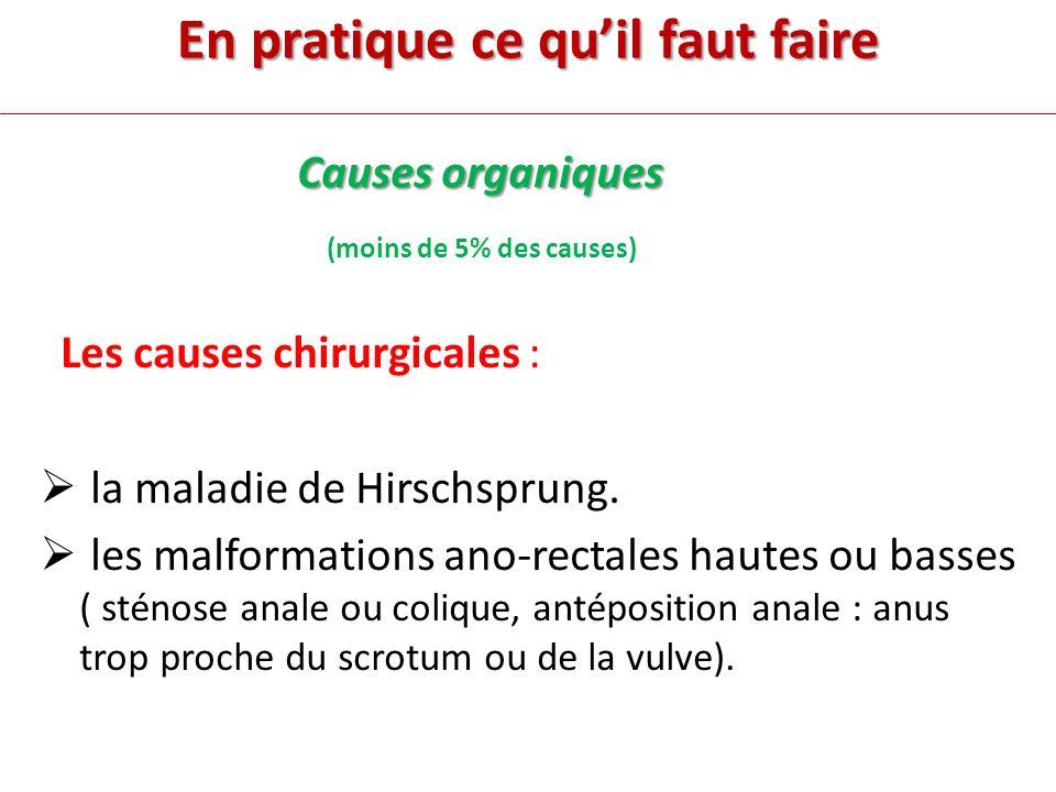 En pratique ce quil faut faire Causes organiques (moins de 5% des causes) Les causes chirurgicales : la maladie de Hirschsprung.