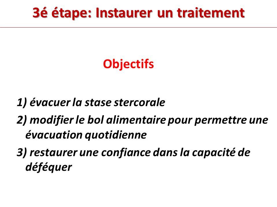 3é étape: Instaurer un traitement Objectifs 1) évacuer la stase stercorale 2) modifier le bol alimentaire pour permettre une évacuation quotidienne 3) restaurer une confiance dans la capacité de déféquer