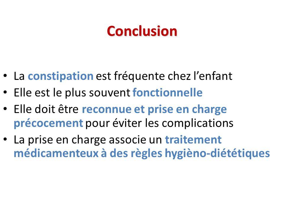 Conclusion La constipation est fréquente chez lenfant Elle est le plus souvent fonctionnelle Elle doit être reconnue et prise en charge précocement pour éviter les complications La prise en charge associe un traitement médicamenteux à des règles hygièno-diététiques