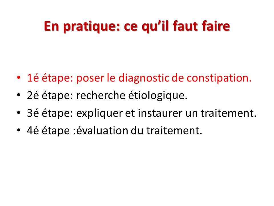 En pratique: ce quil faut faire 1é étape: poser le diagnostic de constipation.