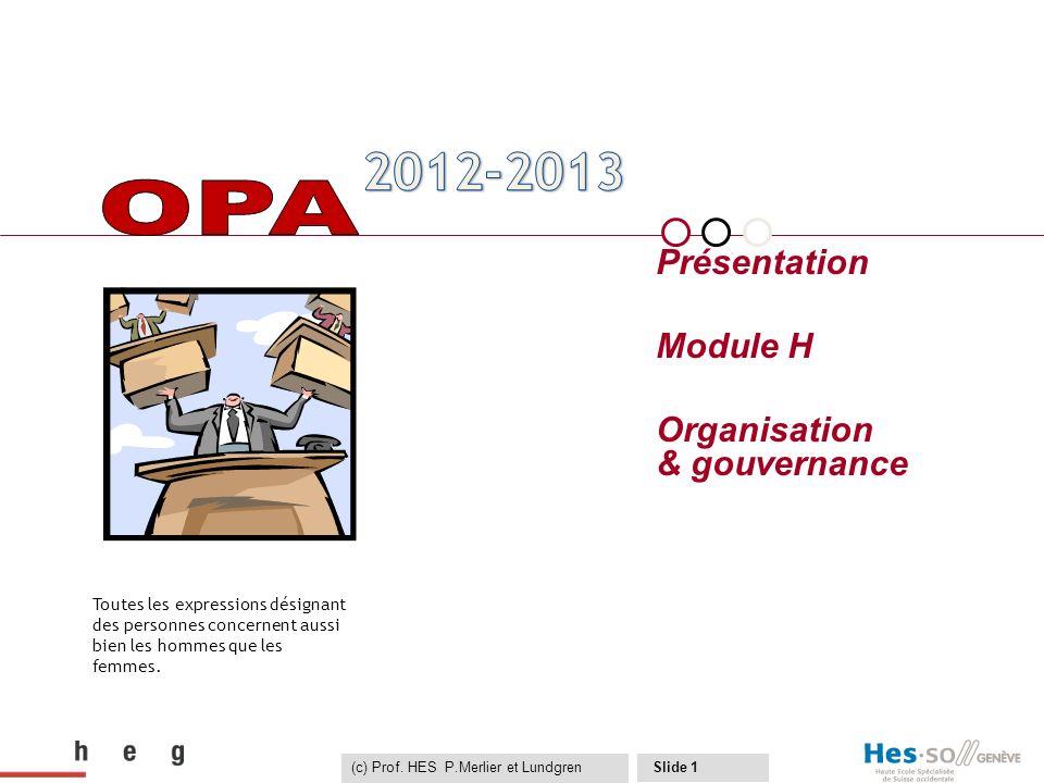 (c) Prof. HES P.Merlier et Lundgren Slide 1 Présentation Module H Organisation & gouvernance Toutes les expressions désignant des personnes concernent