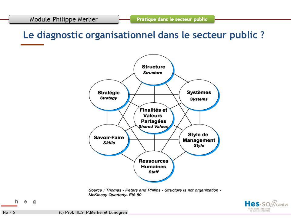 Objectif Contenu Pratique dans le secteur public Le diagnostic organisationnel dans le secteur public ? (c) Prof. HES P.Merlier et LundgrenNo > 5 Modu
