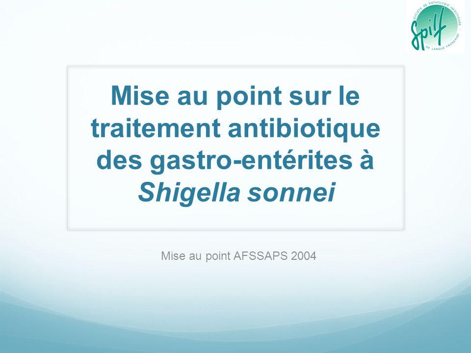 Mise au point sur le traitement antibiotique des gastro-entérites à Shigella sonnei Mise au point AFSSAPS 2004