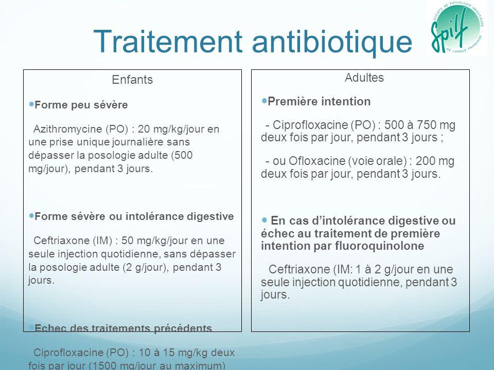 Traitement antibiotique Enfants Forme peu sévère Azithromycine (PO) : 20 mg/kg/jour en une prise unique journalière sans dépasser la posologie adulte (500 mg/jour), pendant 3 jours.