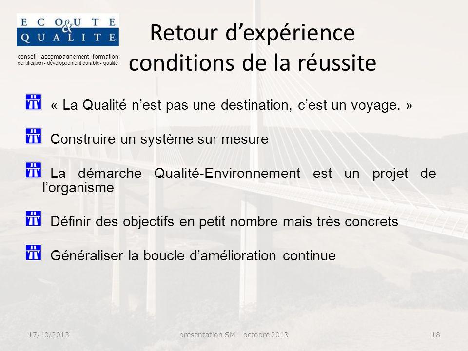 conseil - accompagnement - formation certification - développement durable - qualité Retour dexpérience conditions de la réussite « La Qualité nest pas une destination, cest un voyage.