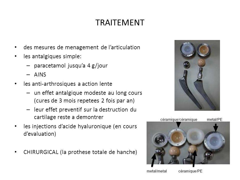 TRAITEMENT des mesures de menagement de larticulation les antalgiques simple: – paracetamol jusqua 4 g/jour – AINS les anti-arthrosiques a action lent