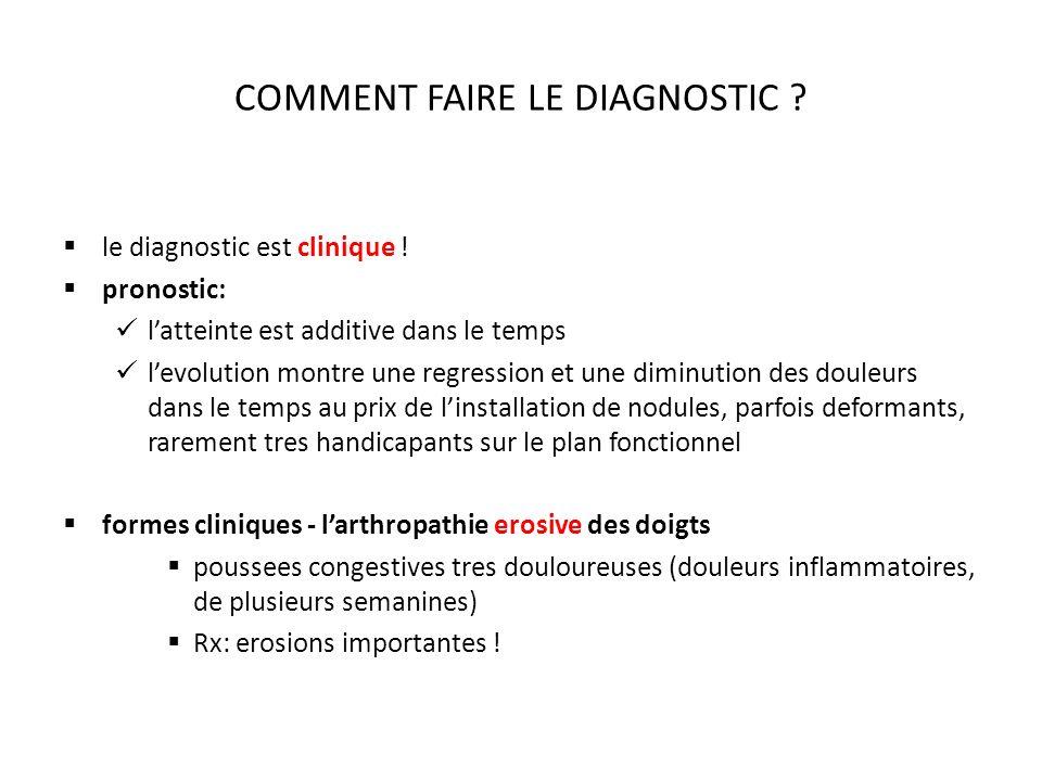 COMMENT FAIRE LE DIAGNOSTIC .le diagnostic est clinique .