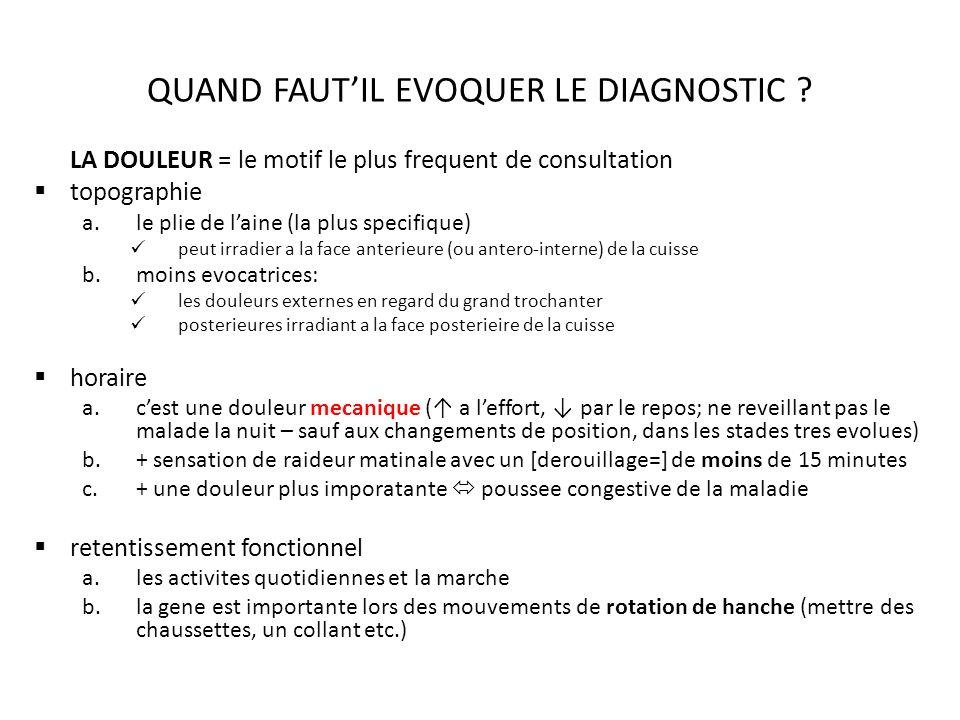 QUAND FAUTIL EVOQUER LE DIAGNOSTIC .