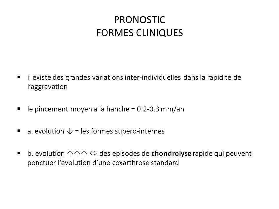 PRONOSTIC FORMES CLINIQUES il existe des grandes variations inter-individuelles dans la rapidite de laggravation le pincement moyen a la hanche = 0.2-0.3 mm/an a.