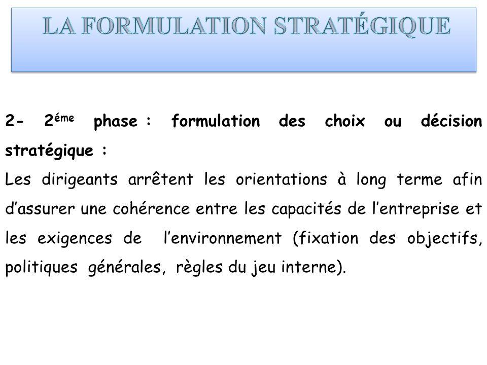 2- 2 éme phase : formulation des choix ou décision stratégique : Les dirigeants arrêtent les orientations à long terme afin dassurer une cohérence ent