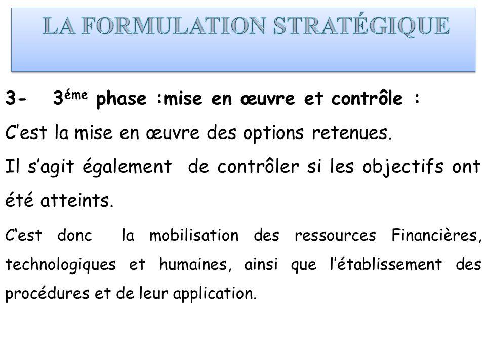 3- 3 éme phase :mise en œuvre et contrôle : Cest la mise en œuvre des options retenues. Il sagit également de contrôler si les objectifs ont été attei