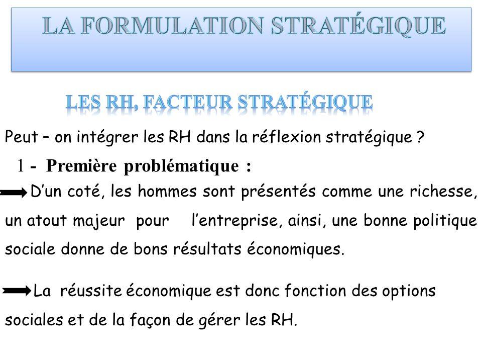 Peut – on intégrer les RH dans la réflexion stratégique ? 1 - Première problématique : Dun coté, les hommes sont présentés comme une richesse, un atou