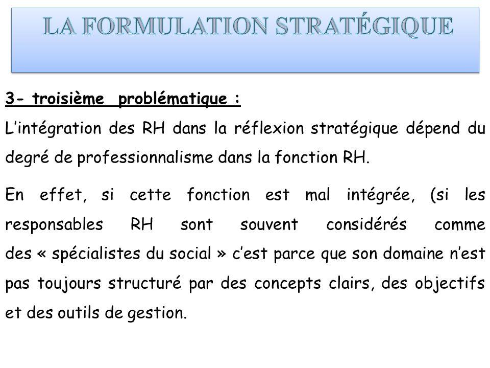 3- troisième problématique : Lintégration des RH dans la réflexion stratégique dépend du degré de professionnalisme dans la fonction RH. En effet, si
