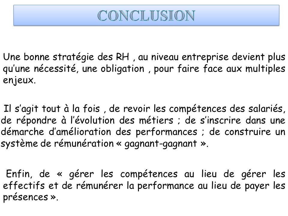 Une bonne stratégie des RH, au niveau entreprise devient plus quune nécessité, une obligation, pour faire face aux multiples enjeux. Il sagit tout à l
