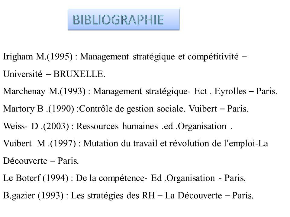 Irigham M.(1995) : Management strat é gique et comp é titivit é – Universit é – BRUXELLE. Marchenay M.(1993) : Management strat é gique- Ect. Eyrolles