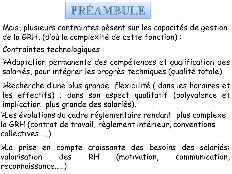 La prise en compte croissante des besoins des salariés: valorisation des RH (motivation, communication, reconnaissance…..) Mais, plusieurs contraintes