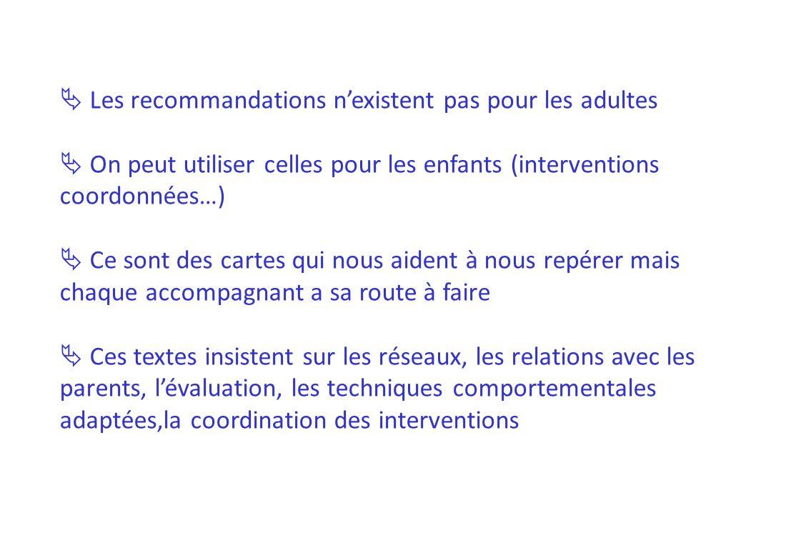 Les recommandations nexistent pas pour les adultes On peut utiliser celles pour les enfants (interventions coordonnées…) Ce sont des cartes qui nous a