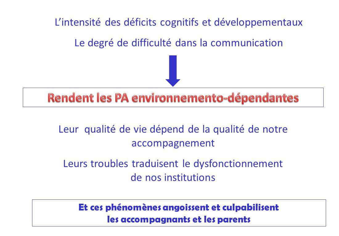 Lintensité des déficits cognitifs et développementaux Le degré de difficulté dans la communication Leur qualité de vie dépend de la qualité de notre a