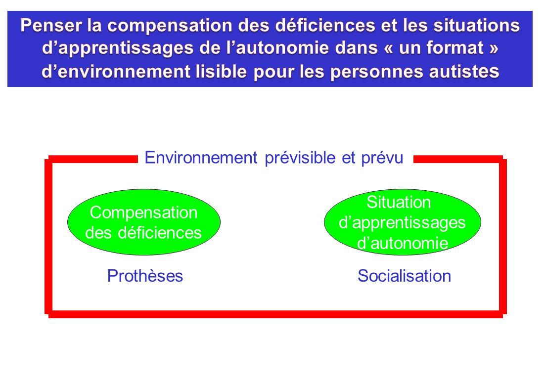Compensation des déficiences Situation dapprentissages dautonomie ProthèsesSocialisation Environnement prévisible et prévu