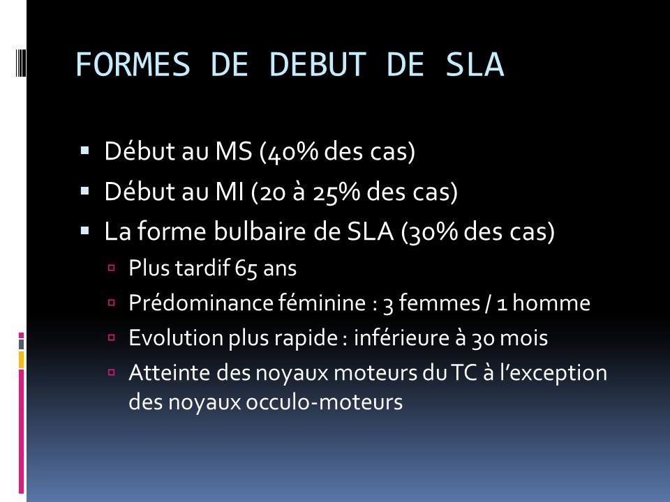 FORMES DE DEBUT DE SLA Début au MS (40% des cas) Début au MI (20 à 25% des cas) La forme bulbaire de SLA (30% des cas) Plus tardif 65 ans Prédominance féminine : 3 femmes / 1 homme Evolution plus rapide : inférieure à 30 mois Atteinte des noyaux moteurs du TC à lexception des noyaux occulo-moteurs