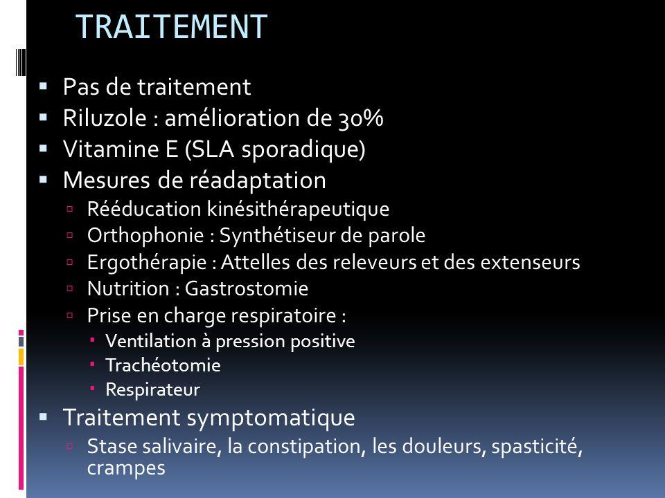 TRAITEMENT Pas de traitement Riluzole : amélioration de 30% Vitamine E (SLA sporadique) Mesures de réadaptation Rééducation kinésithérapeutique Orthophonie : Synthétiseur de parole Ergothérapie : Attelles des releveurs et des extenseurs Nutrition : Gastrostomie Prise en charge respiratoire : Ventilation à pression positive Trachéotomie Respirateur Traitement symptomatique Stase salivaire, la constipation, les douleurs, spasticité, crampes