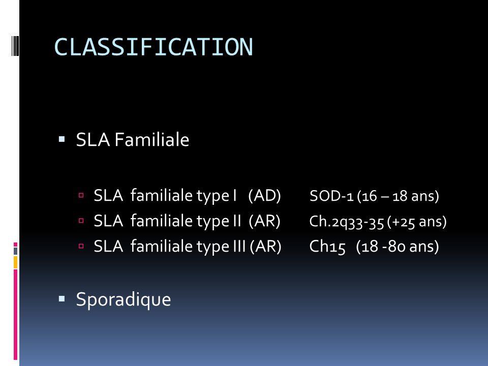 CLASSIFICATION SLA Familiale SLA familiale type I (AD) SOD-1 (16 – 18 ans) SLA familiale type II (AR) Ch.2q33-35 (+25 ans) SLA familiale type III (AR) Ch15 (18 -80 ans) Sporadique