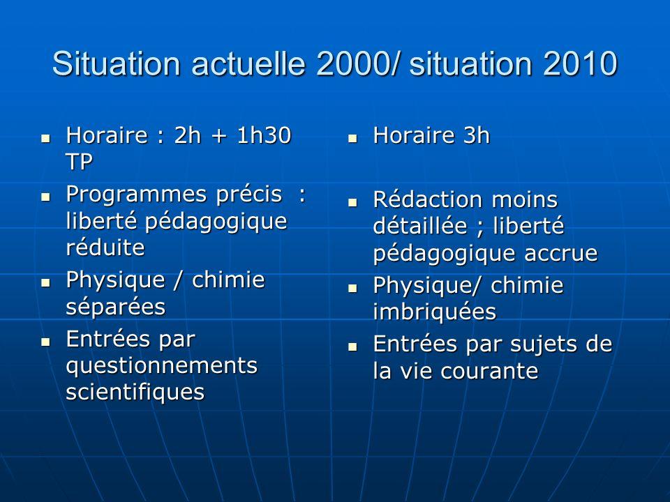 Situation actuelle 2000/ situation 2010 Horaire : 2h + 1h30 TP Horaire : 2h + 1h30 TP Programmes précis : liberté pédagogique réduite Programmes préci
