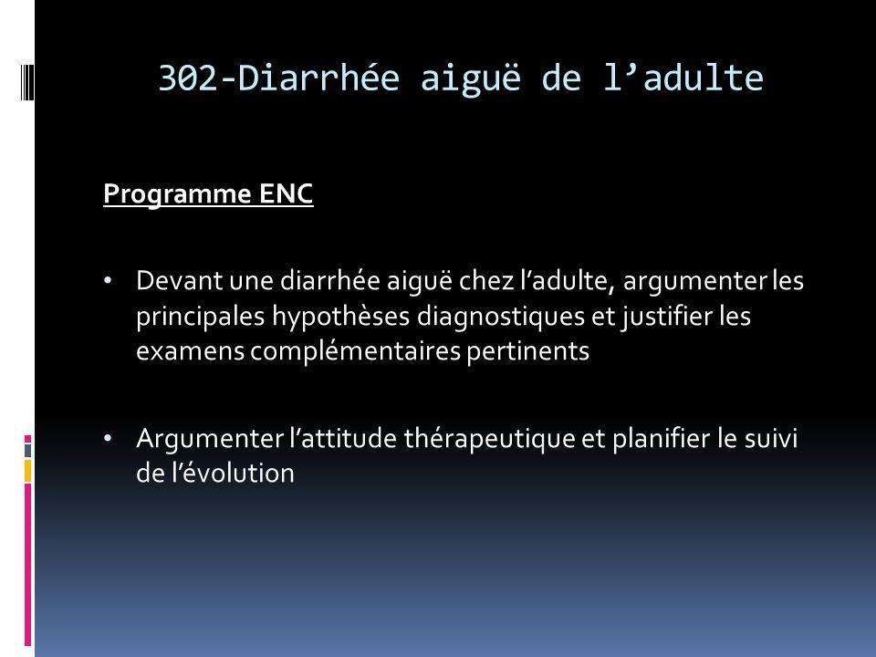 302-Diarrhée aiguë de ladulte Programme ENC Devant une diarrhée aiguë chez ladulte, argumenter les principales hypothèses diagnostiques et justifier l