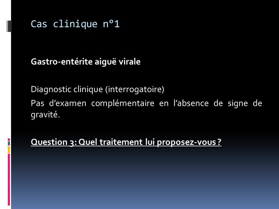 Cas clinique n°1 Gastro-entérite aiguë virale Diagnostic clinique (interrogatoire) Pas dexamen complémentaire en labsence de signe de gravité. Questio