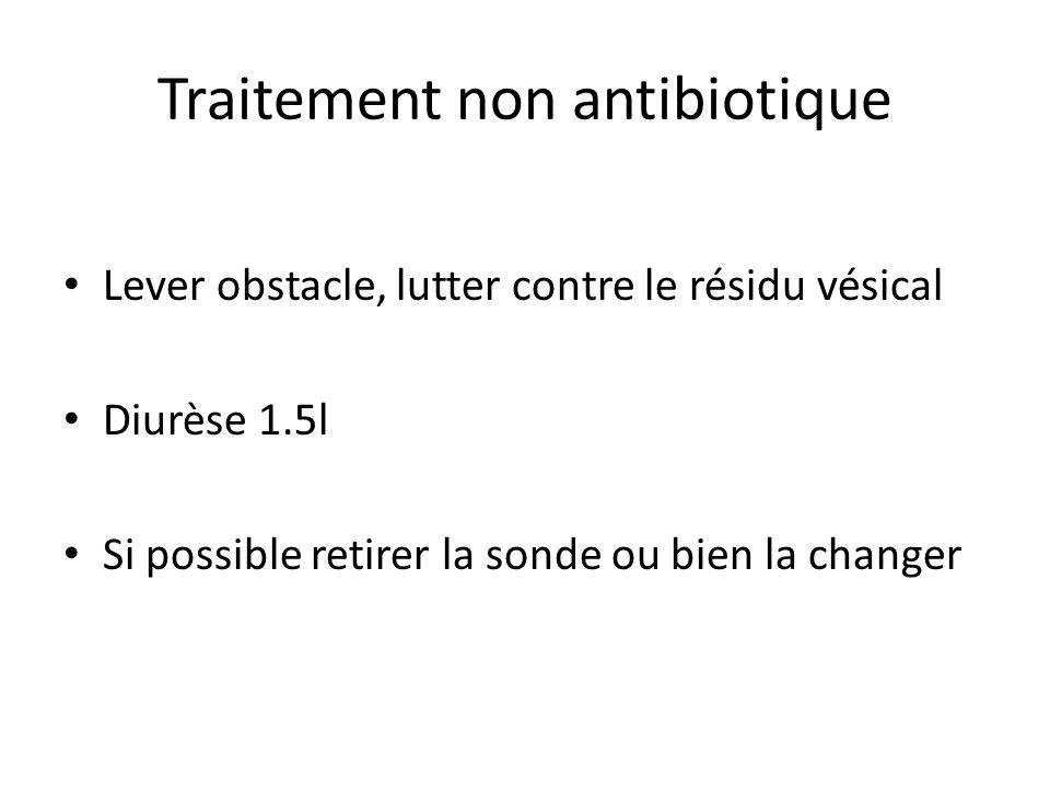 Traitement non antibiotique Lever obstacle, lutter contre le résidu vésical Diurèse 1.5l Si possible retirer la sonde ou bien la changer