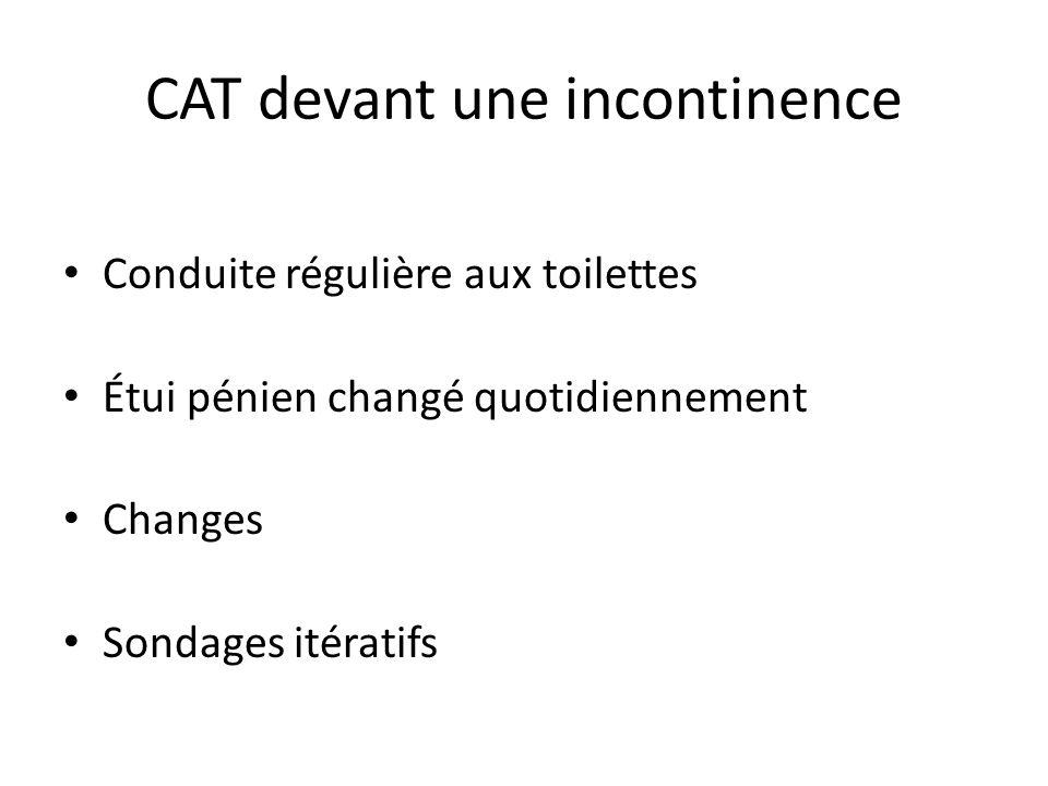 CAT devant une incontinence Conduite régulière aux toilettes Étui pénien changé quotidiennement Changes Sondages itératifs