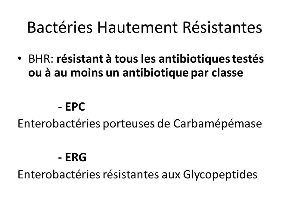 Bactéries Hautement Résistantes BHR: résistant à tous les antibiotiques testés ou à au moins un antibiotique par classe - EPC Enterobactéries porteuse