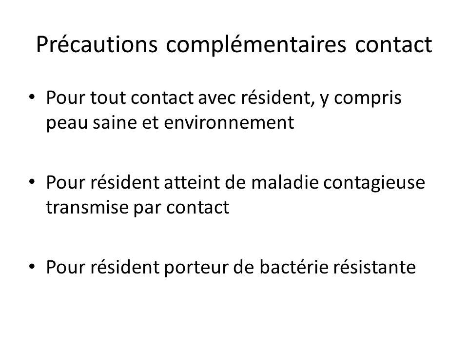 Précautions complémentaires contact Pour tout contact avec résident, y compris peau saine et environnement Pour résident atteint de maladie contagieus