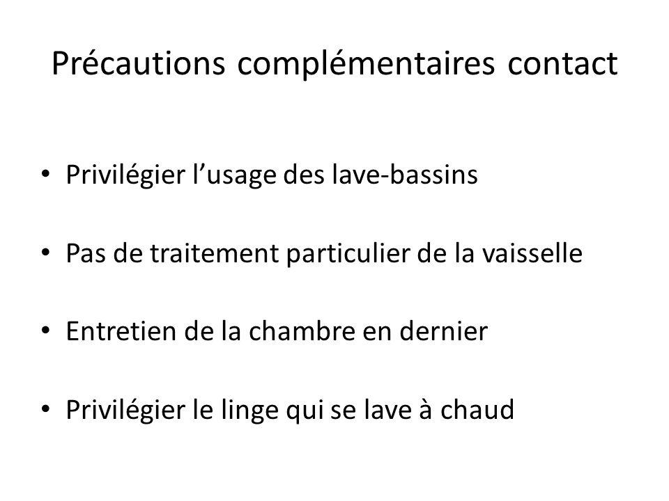 Précautions complémentaires contact Privilégier lusage des lave-bassins Pas de traitement particulier de la vaisselle Entretien de la chambre en derni