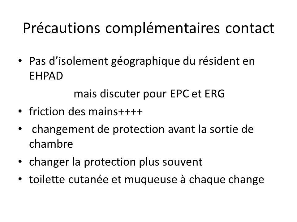 Précautions complémentaires contact Pas disolement géographique du résident en EHPAD mais discuter pour EPC et ERG friction des mains++++ changement d