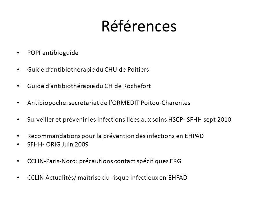 Références POPI antibioguide Guide dantibiothérapie du CHU de Poitiers Guide dantibiothérapie du CH de Rochefort Antibiopoche: secrétariat de lORMEDIT
