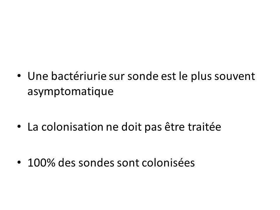 Une bactériurie sur sonde est le plus souvent asymptomatique La colonisation ne doit pas être traitée 100% des sondes sont colonisées