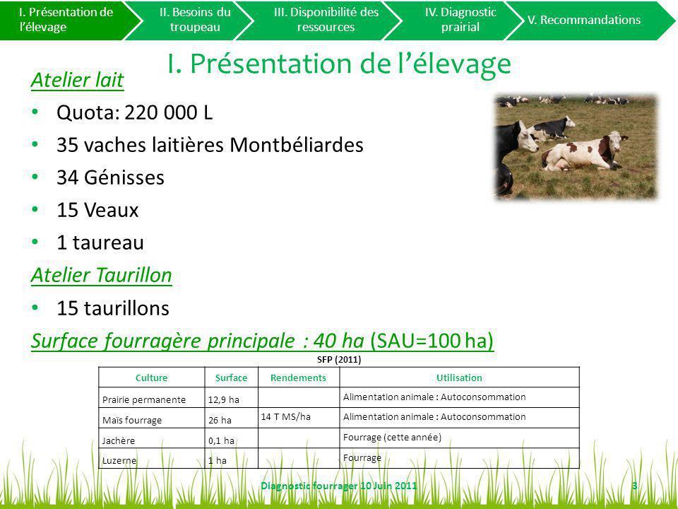 I. Présentation de lélevage Atelier lait Quota: 220 000 L 35 vaches laitières Montbéliardes 34 Génisses 15 Veaux 1 taureau Atelier Taurillon 15 tauril