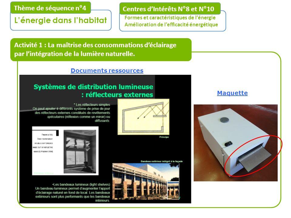 Activité 1 : La maîtrise des consommations déclairage par lintégration de la lumière naturelle. Centres dIntérêts N°8 et N°10 Formes et caractéristiqu