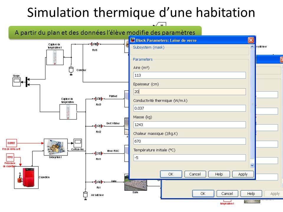 Simulation thermique dune habitation A partir du plan et des données lélève modifie des paramètres