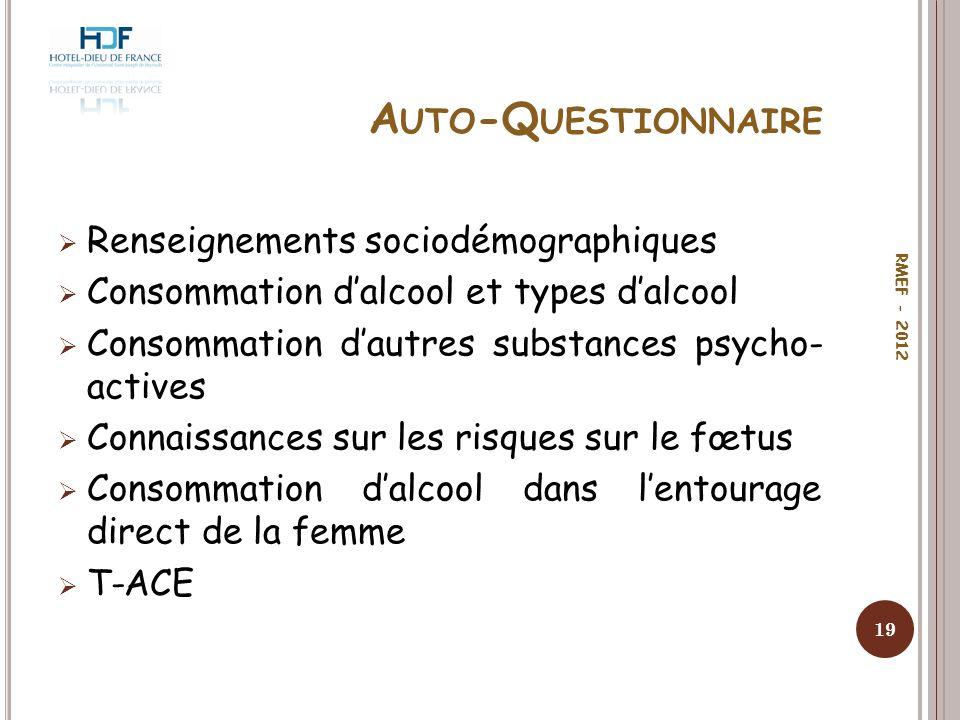 A UTO -Q UESTIONNAIRE Renseignements sociodémographiques Consommation dalcool et types dalcool Consommation dautres substances psycho- actives Connais